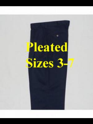 Boys Pants Pleated Navy 3-7