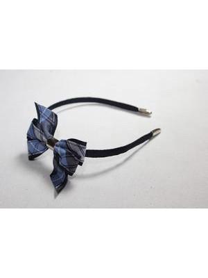 Headband w bow plaid 76